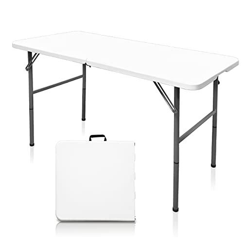 HYMnature Folding Table 4 Foot Commercial Height Adjustable Folding Utility...