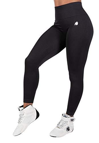 GORILLA WEAR Neiro Seamless Leggings - schwarz - leichte bequem Sport-Leggings mit Logo zum Sport Alltag Freizeit Workout Training tailliert aus Nylon Spandex schweißableitend eng starker Halt, S/M