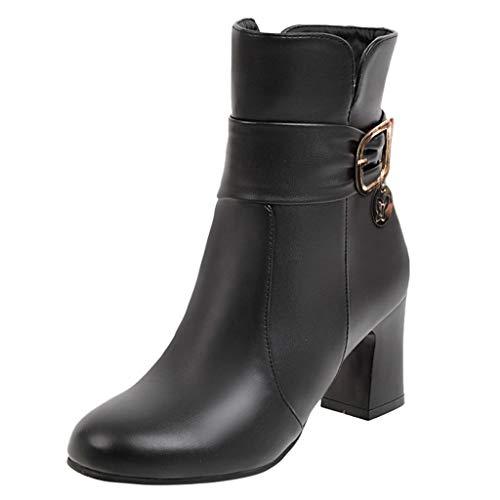 Andouy Damen Elegant Faux Fur Chelsea Boots Thick Hoher Absatz Stiefeletten Übergroß Halbstiefel(40 EU,Schwarz)