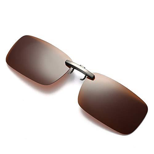 Dorical Unisex Brille, Damen Herren Abnehmbare Nachtsicht-Objektiv Fahren Metall polarisierte Klipp auf-Glas-Sonnenbrille Sale(Kaffee)