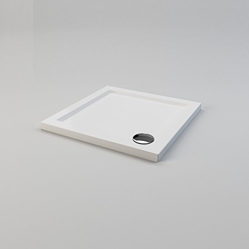 ELEGANT 700 x 700 x 40 mm Square Stone Shower Tray with Waste Trap