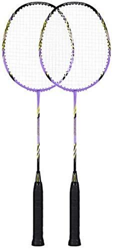 Dljyy Badmintonschläger, echtes Vollkarbon, ultraleicht, für Erwachsene, einzelne Schüsse, strapazierfähig, lange Lebensdauer, praktisch – Lila Badminton-Set