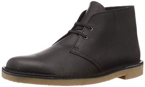 Clarks Herren Desert Boot Bushacre 3 Chukka-Stiefel, Black Leather, 43 EU