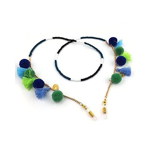 Eyeglass - Cadena con cordón para gafas de sol, diseño de gafas de sol de metal, gafas de lectura, cadena de gafas con cordón para el cuello, correa de cuerda.