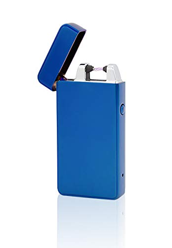 TESLA Lighter TESLA Lighter T01 Blau Lichtbogen Feuerzeug USB Aufladbar Elektro Sturmfest Plasma Einzel-Lichtbogen mit Akku Blau