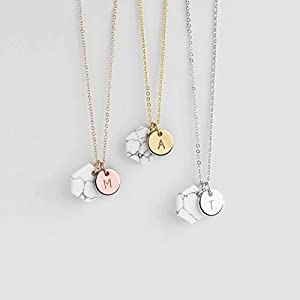 Personalized Raw Howlite Pendant Necklace | Dainty, Minimalist Jewelry