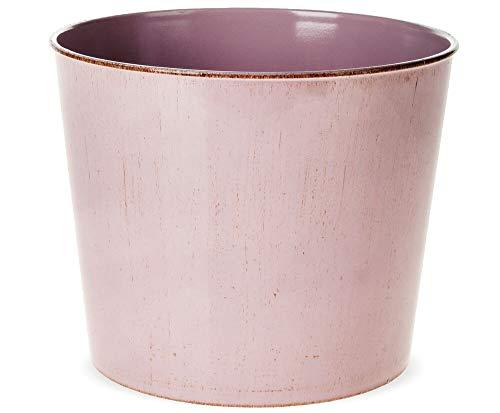 matches21 Übertopf Blumentopf Kunststoff Used-Look Shabby Pflanztopf Kunststofftopf rosa mit Goldrand - Ø 18x15 cm
