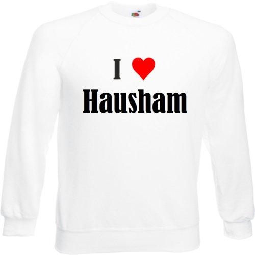 Reifen-Markt Sudadera I Love Hausham para mujer, hombre y niños en los colores negro, blanco y azul con impresión Blanco L