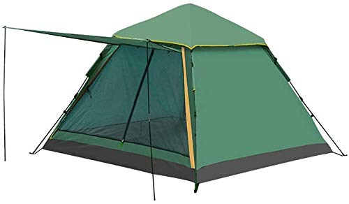LAZ Tents Automatic Tents 3-4 People Double Door Tents Thickened Rain-Proof Camping Outdoor Camping Breathable Tent Windproof (Color : Green, Size : 225 cm)