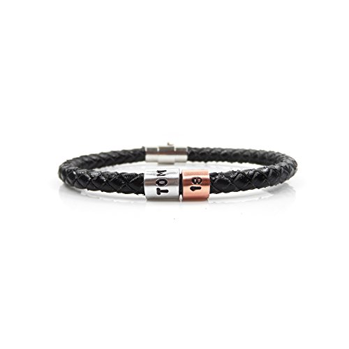 GIFTS2THEDOOR 18th Birthday Personalised Leather Bracelet – Gift Boxed