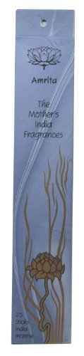Amrita High Quality Fair Trade Handmade Incense - The Mother's India Fragrances - 20 Joss Incense Sticks - Cinnamon, Patchouli & Cedarwood - Burn time 1-2 hours - Great for Relaxing Meditation -Free Postage! by The Mother's India Fragrances