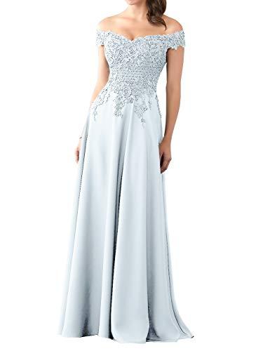 HUINI Abendkleider Lang Chiffon Ballkleid Brautjungfernkleider Spitze Brautkleider Vintage Hochzeit Partykleider Hell blau 32