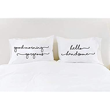 His and Hers Pillowcases Good Morning Gorgeous Hello Handsome Couples Pillowcases with Quotes