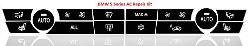 Faded Worn AC Button Repair Kit for 2009-2015 BMW 5 Series Vehicles - Durable Vinyl Overlay Decals