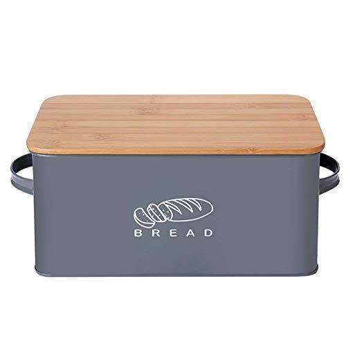 Pienso Cajas de almacenamiento Pan contenedores con tablero de corte de bambú Tapa de metal Metal Caja de refrigerios Galvanizados Documentos de diseño Cocina Contenedores Decoración para el hogar