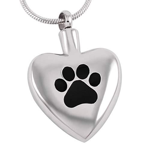 OPPJB Collar Conmemorativo De Cenizascollar De Cenizas De Acero Inoxidable En Forma De Corazón con Estampado De Pata De Perro