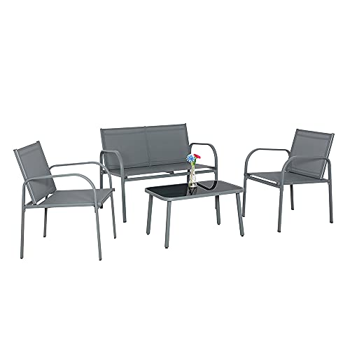Panana Gartenmöbel-Set, 4-teilig, für den Außenbereich, Tischplatte aus gehärtetem Glas, Couchtisch, Stühle mit Stahlrahmen, Konversation, Balkon, Hinterhof, Terrasse, Grau