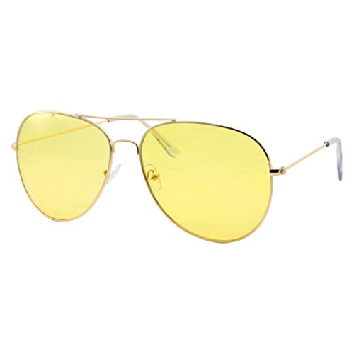 Mens Large Aviator Yellow Lens Sunglasses - Colored Tint Lens