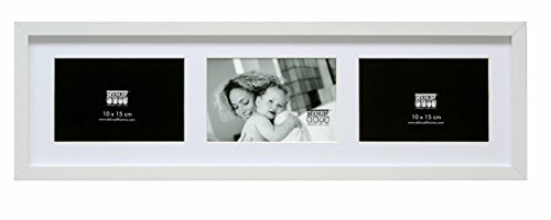 Deknudt Frames S66KC6 Bilderrahmen 10x15 Bilderrahmen Weiss, 3 Bilder horizontal Holz Fotokader