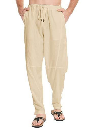 LecGee Men Cotton Linen Yoga Pant Casual Elastic Waist Drawstring Loose Fit Baggy Harem Pants