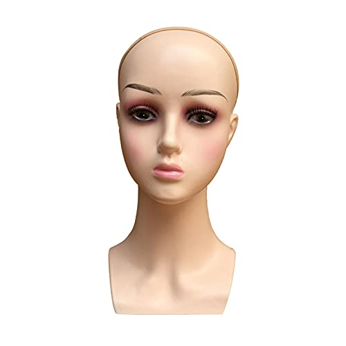 Perruque de tête Femme Professionnel Cosmétologie Bald Mannequin Tête pour faire des perruques, affichant des perruques, des lunettes, des cheveux avec un plafond de perruque Pour faire perruque