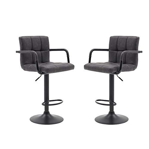 Halter Modern Bar Stool with Armrest Counter Height Bar Chair Vinyl Matte Black Powder Coating Set of 2 Light Gray