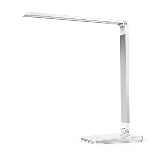 Aptoyu LED Dimmable Desk Lamp with 4 Lighting Modes (Studying, Reading, Relaxing, Sleeping) and 5 Level Dimming, Dual USB Charging Port for Home Office Study