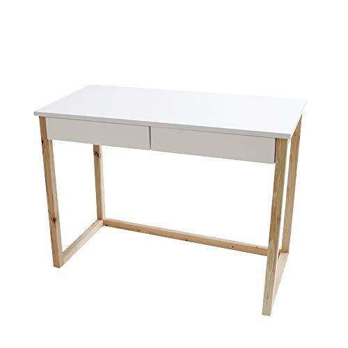 Selsey SCANDINAVIA - Bureau avec deux tiroirs (blanc / bois de pin, 100 cm)