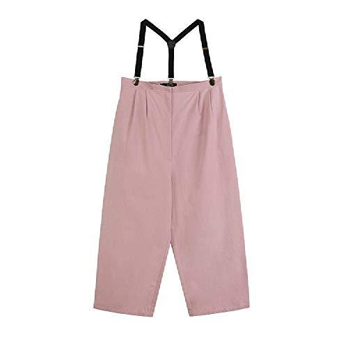 SKJKT Damen locker, gerades Bein, breites Bein, hohe Taille, schlanke Freizeithose, Arbeitskleidung, Einteilige Hose Gr. M, Rose