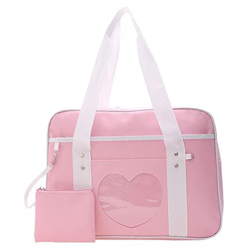 ARVALOLET Ita Bag - Bolso japonés con diseño de corazón y patchwork, kawaii, bolso grande de lona para mujer, portátil, bolso de viaje, diseño de anime, Rosa., 360*280*110mm
