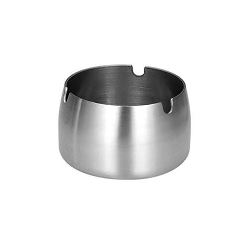 ZANZAN Ceniceros para cigarrillos cenicero de mesa redonda de acero inoxidable apto para el hogar, hotel, restaurante, interior y exterior bandeja de cenizas (tamaño mediano)