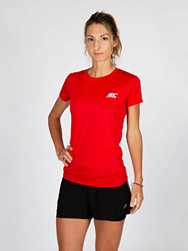 BODYCROSS Maillot Manches Courtes Col Rond Femme Paz Rouge Running, Jogging, Training - Léger, Respirant, Anti-Bactéries et Anti-Odeurs