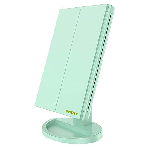 WEILY Espejo Maquillaje con Luz (Verde)