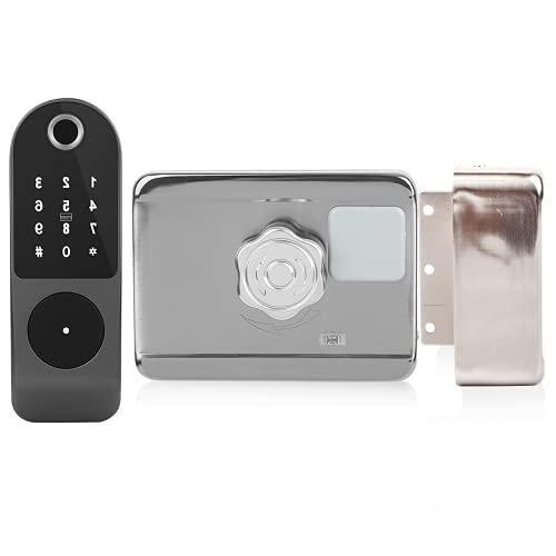 Cerradura de control eléctrico, aplicación móvil y llave Cinco métodos de desbloqueo Interruptor giratorio de acero inoxidable Cerradura de puerta inteligente remota, para la puerta