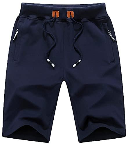 QPNGRP Mens Shorts Casual Drawstring Zipper Pockets Elastic Waist Navy 36