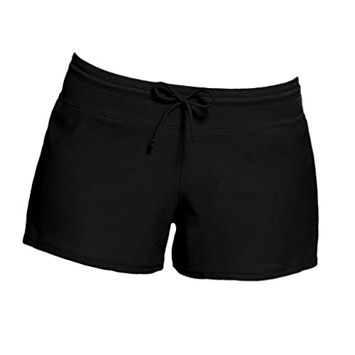 FITYLE Pantalones Cortos De Baño De Mujer Solid Boardshort Shorts De Baño De Bikini De Surf - Negro, 3XL