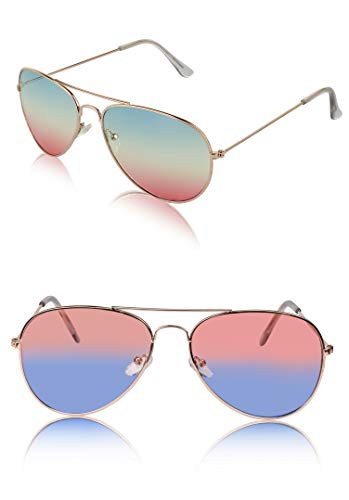 Classic Aviator Sunglasses Metal Frame Colored Lens Glasses UV400 Protection (2 pack peach/blue+green/pink)