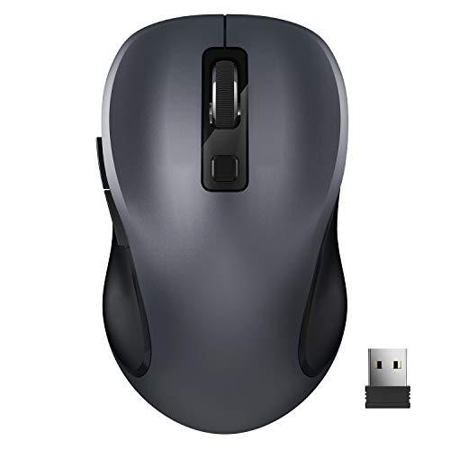 Computermaus, TedGem Funkmaus 2.4G Kabellose Maus Funk Maus Wireless Maus Tragbar Drahtlose Maus mit 6 Tasten, 3 Einstellbare DPI 1600/1200 / 800 für Laptop & PC, Microsoft & macOS (Grau)