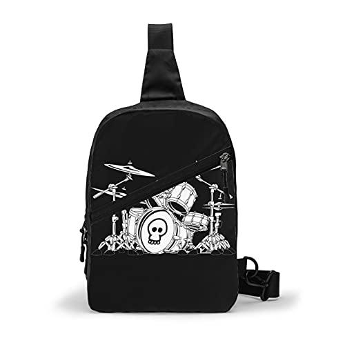 Rock Drum Set Cartoon pecho bolso bandolera bandolera adecuado para viajes diarios, deportes al aire libre, senderismo