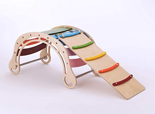 Original Waldorf Rocker for kids WITH A RAMP IN RAINBOW TONES, Solid Wood Rocking toy - Children Wooden Active Toy, Natural Rocking chair, Climbing, Wippe