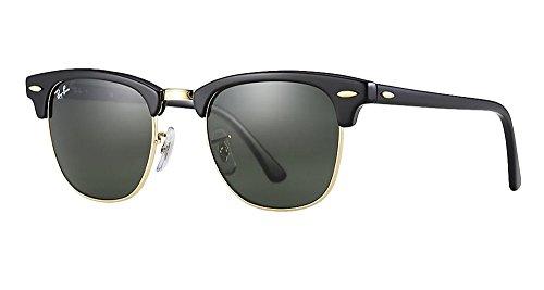 Ray-Ban RB3016 Clubmaster Sunglasses (51 mm, Solid Black G15 Lens) Ê