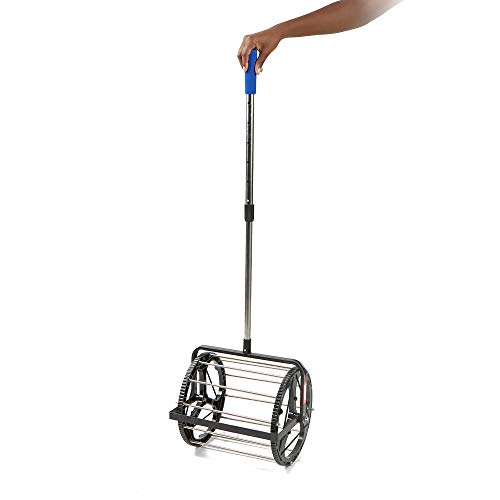 Mind Reader TBROLL-BLK Hopper Retriever Mower Collector, Portable Durable Baseball Picker Upper, Black, Tennis Ball Roller