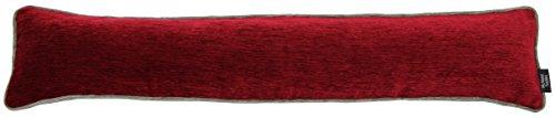 McAlister Textiles Alston Chenille | Schlichter zweifarbiger Zugluftstopper mit Füllung in Rot mit Grau | Deko Windstopper für Fenster, Türen