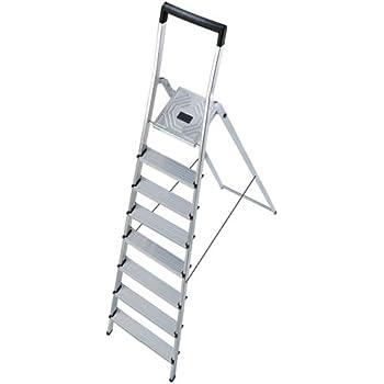 Hailo L40 - Escalera doméstica de Aluminio, travesaño de Seguridad con Gancho para Cubo (8 peldaños): Amazon.es: Bricolaje y herramientas