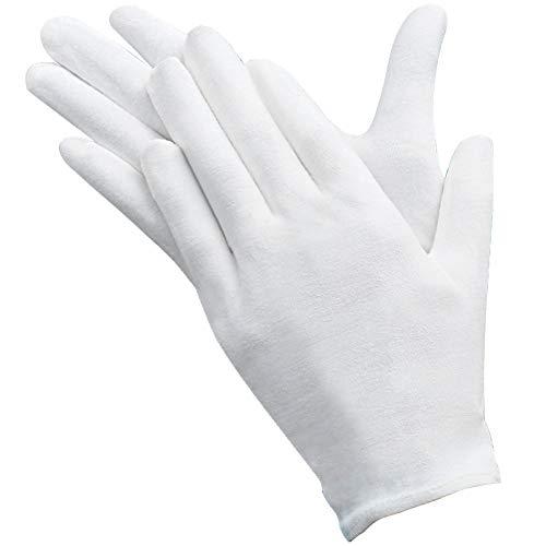 12 pares Guantes de algodón blanco Guantes de Tela Guantes terapéuticos hidratantes cosméticos para manos secas, belleza, monedas, joyería e inspección de plata – Unisex