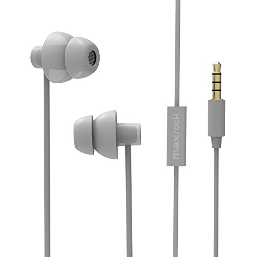 MAXROCK (TM) Unique Total Soft Silicon Sleeping Headphones Earplugs Earbuds with Mic for Cellphones,Tablets and 3.5 mm Jack Plug (Grey)