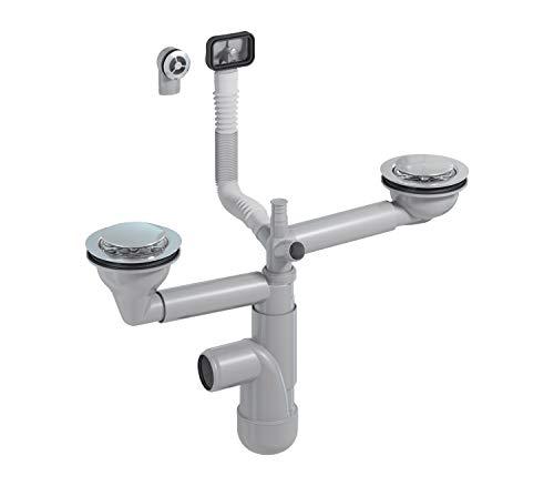 PREVEX Flexloc Siphon, platzsparend, universal, komplett mit 1,5 oder 2 Becken inkl. Ablaufgarnitur, Magnetventilkappen und 2 Überlauf für Küchenspüle