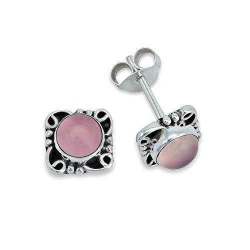 Pendientes de plata 925 con cuarzo rosa (No: MOS 081-07)