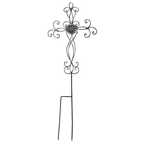 Dicksons Filigree Medallion Cross Metal 31.25 Inch Metal Outdoor Garden Stake