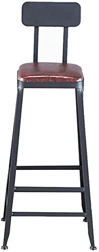 Taburetes De Bar Taburete de barra industrial de taburete, Cojín de cuero de la pierna de la silla a prueba de óxidos con la silla de reposapiés, la silla de la cocina del contador de la cocina (65 cm